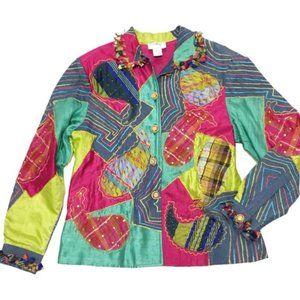 Vintage Anage Paisley Patchwork Denim Silk Jacket